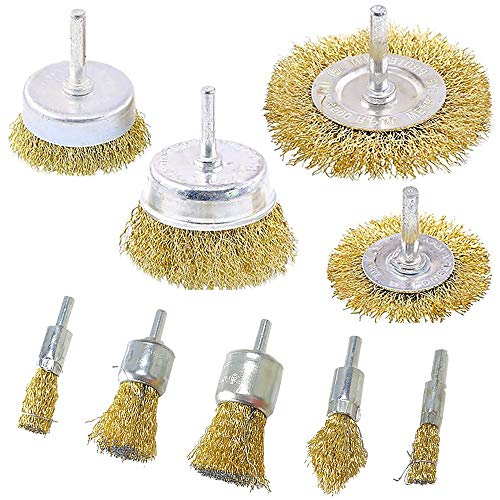 - Wire Wheel Brush Set, Dayree 9pcs Brass Coated Wire Cup Brush Set with 1/4-Inch Shank for Rust Removal, Iron Removal Corrosion and Scrub Surfaces