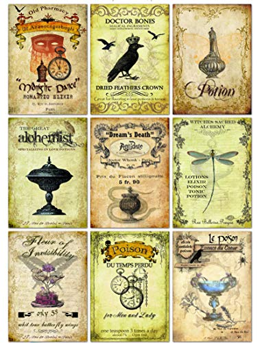 Halloween Vintage Inspired 9 bottle labels Poison Tonic Potion Magical -