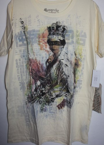 (Monarchy Yellow Crew Neck T Shirt Color Graphics 0f the Queen-Eyes Blocked. XL)