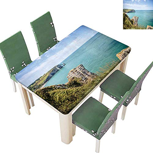 Printsonne Polyester Tablecloth Table Cover Cliffs of Etretat in Normandy,France for Dining Room 50 x 72 Inch (Elastic Edge)
