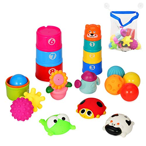 (21pc Baby Bath Toys for Girls/Boys, Ideal Educational Bathtub Toys for 1 Year Old Kids and Above, Including Stacking Cups, Animals, Float Ball, Ocean Ball, Toddler Water Toy, Toy Organizer Included)