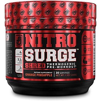 NITROSURGE-SHRED-Pre-Workout-Fat-Burner-Supplement-30-Servings-Orange-Pineapple-Flavor-85-oz