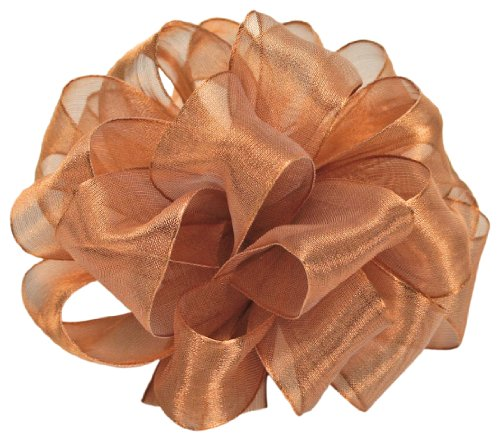 Offray Wired Edge Firefly Metallic Sheer Craft Ribbon, 1-1/2-Inch Wide by 15-Yard Spool, Copper
