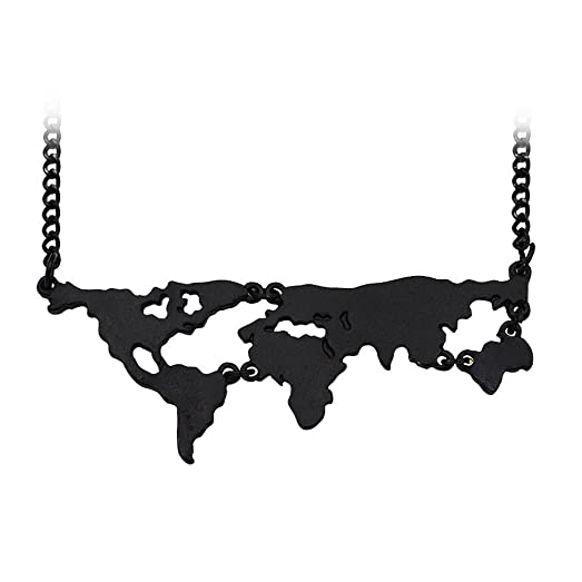 Manzhen gold silver black 3 colors world map pendant necklace manzhen gold silver black 3 colors world map pendant necklace personality gift black gumiabroncs Image collections