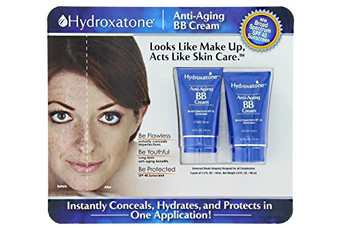 Foundation Bb Cream (Hydroxatone Anti-Aging BB (Beauty Balm) Cream, Universal Shade for ALL Skin Types, SPF 40 (BONUS Pack of 2, 1.5 ounce bottles))