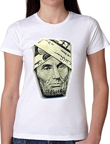 T SHIRT JODE GIRL GGG22 Z0799 ABRAHAM LINCOLN DOLLARS AMERICA FUN FASHION COOL BIANCA - WHITE S