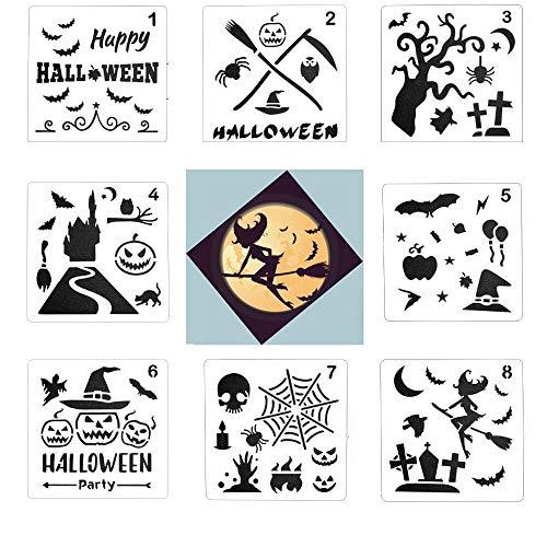 Aolvo Halloween Stencils Template, 8 Pcs Bat Symbol Stencil Owl Stencil Skeleton Stencil Pumpkin Stencil Witch Stencil Skull Stencils DIY Face Painting Drawing Craft Project Wood Glass Album ()