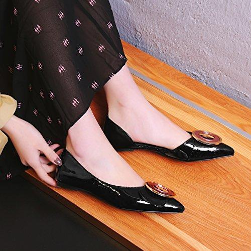 Show Chic Shine Black Slip Shoes Loafers Flats On Womens rqrgapwE