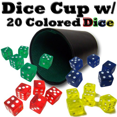 Brybelly Holdings ACC-0047 Plastic Dice Cup with 20 Colored Dice