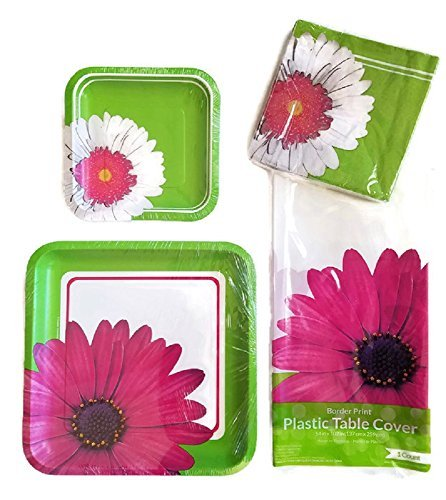 Creative Converting Daisy Disposeable Paper Plates Party Supplies Bundle Set of 4 Includes Plates, Napkins and a Tablecloth Service for 8 Guests