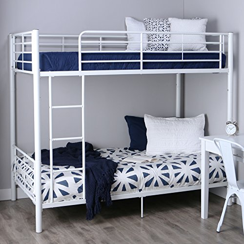- Walker Edison AZTOTWH White bunk Bed, Twin,