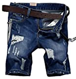 Men's Fashion Faded Ripped Denim Shorts with Zipper Deco S682 Blue 31