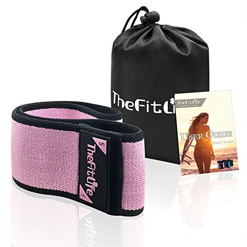 TheFitLife Resistance Bands for Legs and Butt - Fabric Mini Exercise Bands Circle for Booty, Hip, Glute Workout, Anti-Break, Non-Rolling and Non-Slip Wide Fitness Loop Training Bands (Pink)