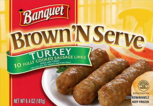 (Banquet Brown 'N Serve Turkey Precooked Sausage Links, 6.4 Ounce Box, 10 Count)