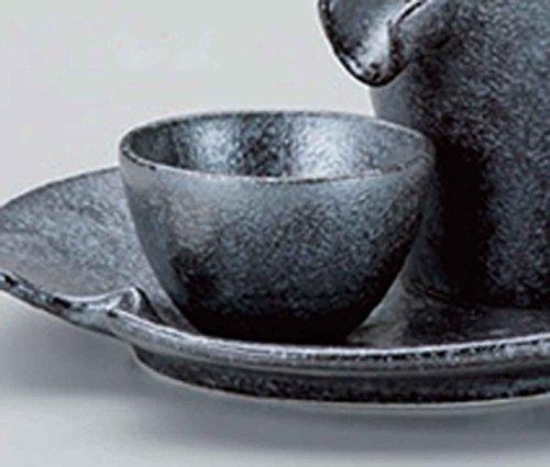 Silver & Black 2.2inch Set of 2 Sake cups Black porcelain Made in Japan