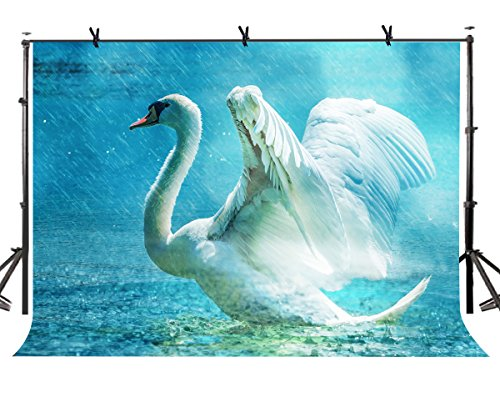 (LYLYCTY 7x5ft White Swan Backdrop White Swan Spreading Wings Photography Background and Studio Photography Backdrop Props LYHUI151)