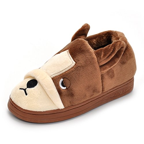 Unisex Khaki Doggy Toddler Little Kids Plush Slippers Boys Girls Winter Warm Indoor Bedroom Shoes With Fur