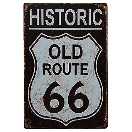 MARQUISE & LOREAN Ruta 66 Decoración Pared | Placa Decorativa Vintage Route | Cartel Chapa Póster (Historic Black, 20 x 30 cm)