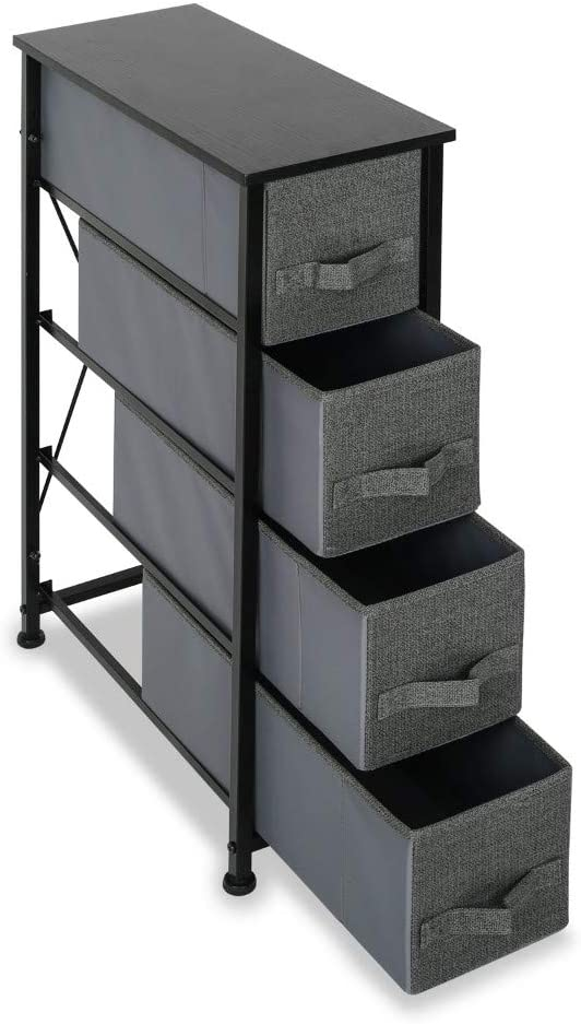 4 Drawer Fabric Dresser Storage Tower Organizer Unit for Bedroom, Closet, Entryway, Hallway, Nursery Room (Black)