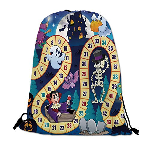 (Board Game Lightweight Drawstring Bag,Halloween Theme Symbols Happy Witch Girl Vampire Ghost Pumpkins Happy Comic for Travel)