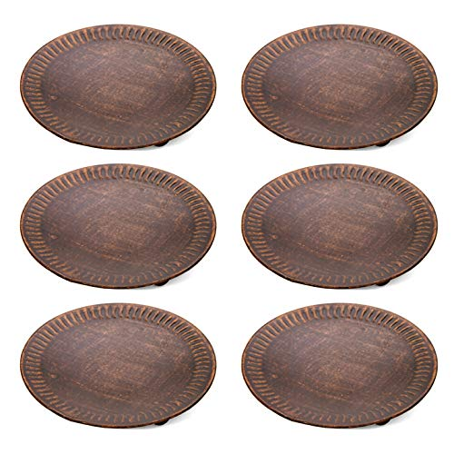 Hosley Set of 6 Copper Color Pillar Candle Plates - 4