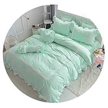 Image of Cotton White Blue Grey Bedding Sets for Girls Queen Twin King Size Duvet Cover Bed Sheet Bed Skirt Set Pillowcase,4,Full Size 8pcs Home and Kitchen