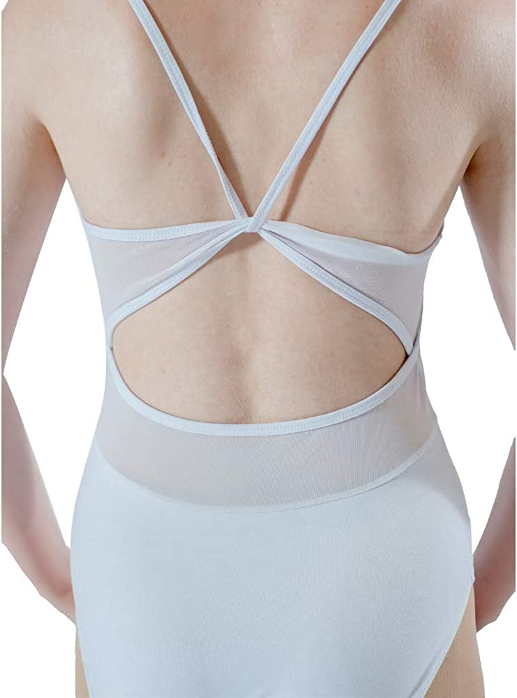 HDW DANCE Women Ballet Dance Leotard Sleeveless Back Mesh Strapy Cotton and Spandex