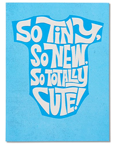 American Greetings So Tiny New Baby Boy Congratulations Card with Flocking (5801270)