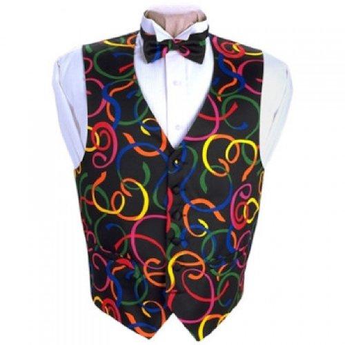 Mardi Gras Serpentine Tuxedo Vest and Bow Tie Size XXlarge -