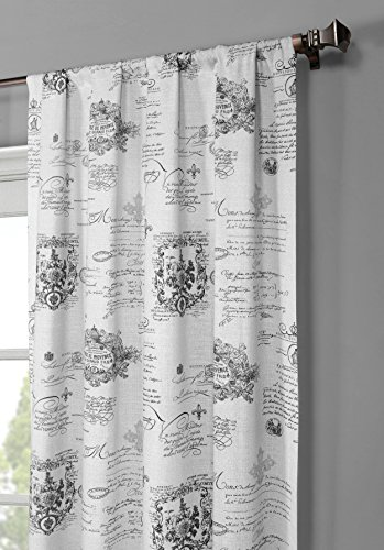 Window Elements Fleur De Lis Printed Cotton Extra Wide 104 X 96 In. Rod  Pocket Curtain Panel Pair, Light Grey