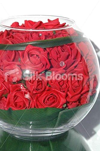 Artificial de color rojo jarrón redondo rosas de espuma y pecera pantalla: Amazon.es: Hogar