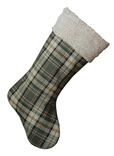 20 Inch Green Plaid Fabric Hanging Christmas Stocking with Sherpa Cuff by Creative Co-op