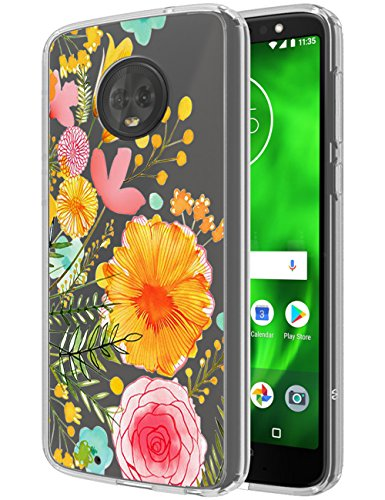 Moto G6 Case, SWODERS Flower Clear Design Shock Absorbing TPU + Hard PC Bumper Case For Motorola Moto G6 - Orange