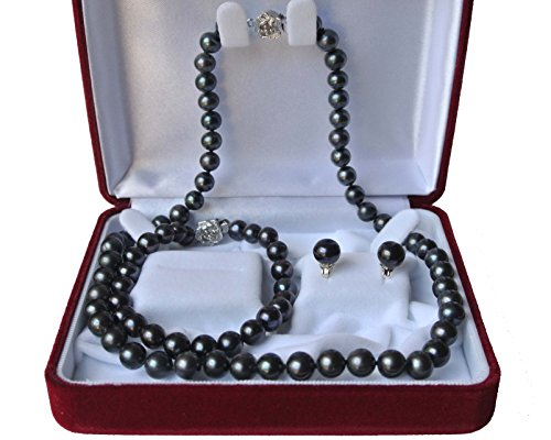 18'' 7.5'' set AAA Genuine 8-9mm ROUND Peacock Black Strand Pearl Necklace Bracelet Earrings 3pc set Cultured Freshwater by Elegant Pearls