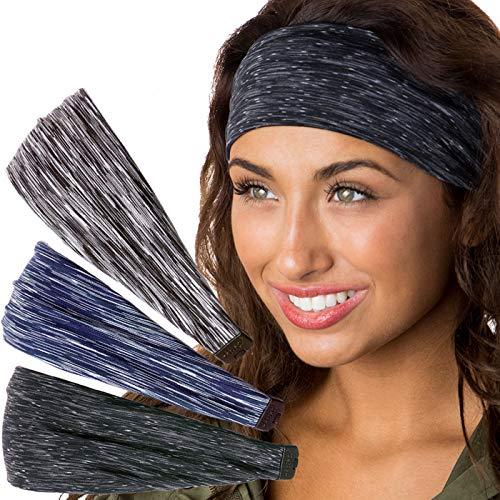 Hipsy Women's Stretchy Xflex Hairband Headbands Gift Packs (Space Dye Black/Navy/Grey Xflex 3pk)