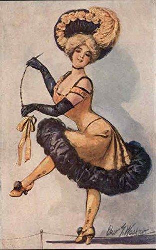 Can Can Dancer in Costume Dancing Original Vintage -