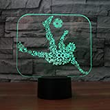 3D Sports Soccer Night Light 7 Color Change LED Table Desk Lamp Acrylic Flat ABS Base USB Charger Home Decoration Toy Brithday Xmas Kid Children Gift