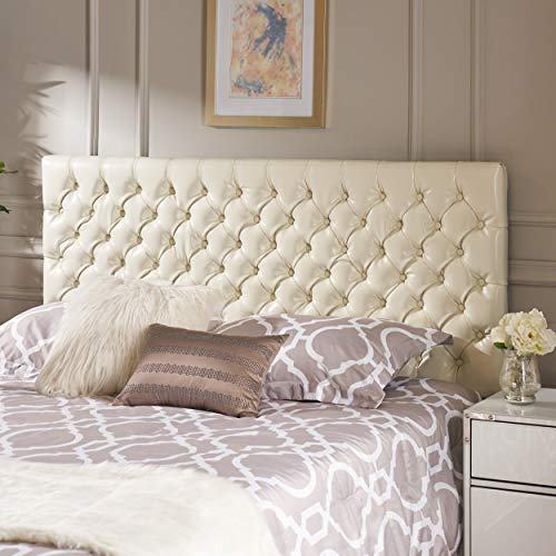 Christopher Knight Home 238887 Deal Furniture Wyoming Queen/Full Button Tufted Fabric Headboard - Ivory,