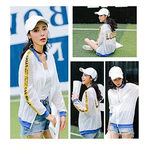 Chic Blau Prospettiva Cappotto Primaverile Baseball Giaccone Donna Manica Autunno Eleganti Cute Casuali Relaxed Moda Lunga Outerwear Di Paillettes Sciolto Digitale Giubbino Con Stampate BqxZ5waPx