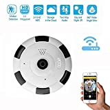 eoqo 1080P Smart Home Security Network Security 180°~ 360°View Angle IP Camera with V380 APP Mobile Remote View(White)