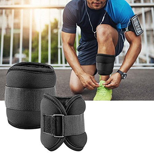 Lantusi Ankle & Wrist Weight Set with Adjustable Strap (1 Pair), Perfect for Exercise Fitness Resistance Training, Black (2LB, 5LB) [US STOCK]