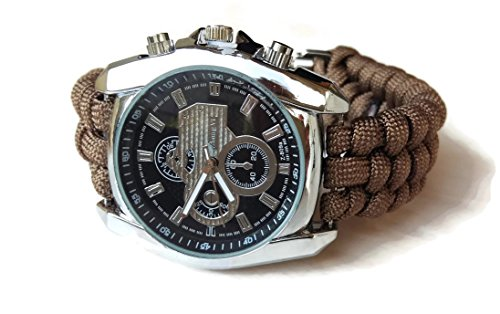 - Mens brown parachute sport steel wrist watch water resistant rectangular paracord 550 strap bracelet