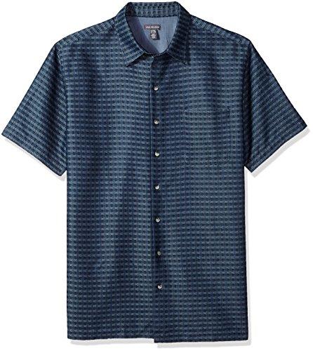 Van Heusen Men's Tall Size Big Short Sleeve Rayon Poly Engineered Panel Shirt, Deep Blue Infinity, (Big And Tall Silk Shirts)