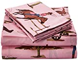 Sweet Jojo Designs 4-Piece Queen Sheet Set for Western Cowgirl Bedding Collection - Cowgirl Horse Print