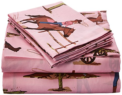 Sweet Jojo Designs 4-Piece Queen Sheet Set for Western Cowgirl Bedding Collection - Cowgirl Horse Print (Cowgirl Pillow)