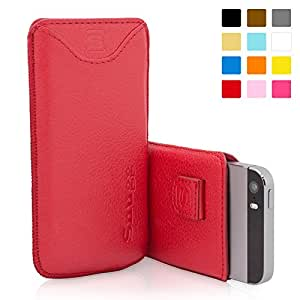 iPhone 5 / 5S / SE Case, SnuggTM - Red Leather Pouch Cover with Card Slot & Soft Premium Nubuck Fibre Interior - Protective Apple iPhone 5 / 5S / SE Sleeve Case - Includes Lifetime Guarantee