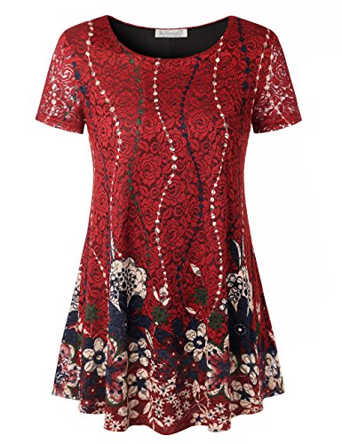 (A-line Swing Tunic Top, BAISHENGGT Womens Round Neck Pleated Front Flared Comfy Loose Comfy Wear Tunic Blouse Red Floral M)