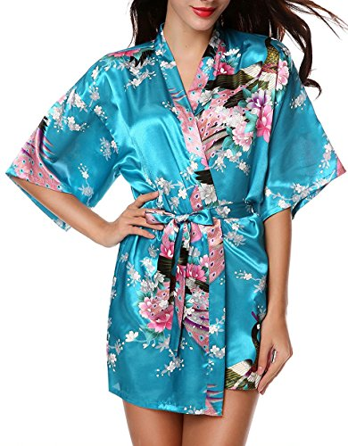 Luxurysmart Peacock Floral Satin Kimono Robe Bridesmaid Robes / Wedding Robe/ Bride Robe Sleepwear Nightgown Blue