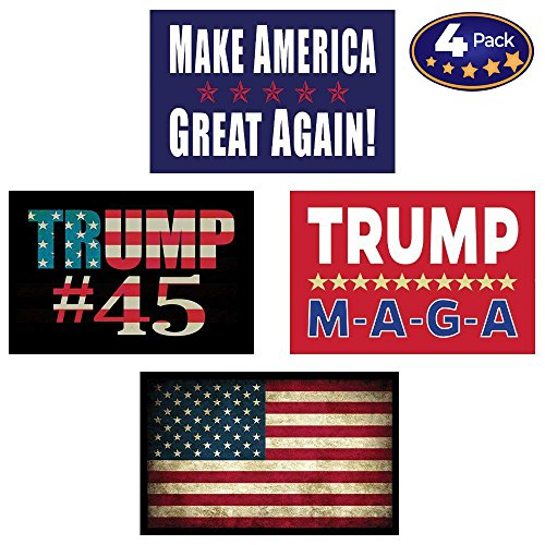 (Pro Trump & American Flag Hard Hat & Helmet Stickers: 4 Decal Value Pack. Great for a Motorcycle Biker Helmet, Construction Toolbox, Hardhat, Mechanic Shop & More. Great Gift for Any Patriot. USA Made)
