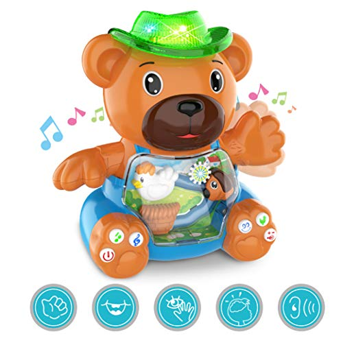 - Musical Bear Baby Toys Featuring with Melodies,Songs, Animals Sounds,Lights,Touch Effect,Speaking, Lay Eggs and Volume Control,Kids Early Learning Educational Infant Toddler Toys for Boys and Girls